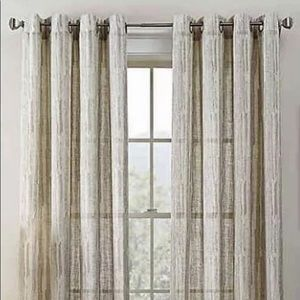 "2 Tuscan Grommet Curtains Alabaster 52""x63"" NEW"